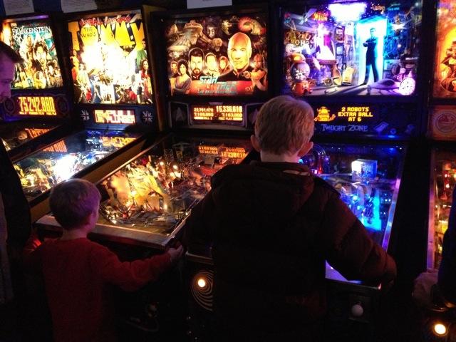 Seattle Pinball Museum 2 boys playing