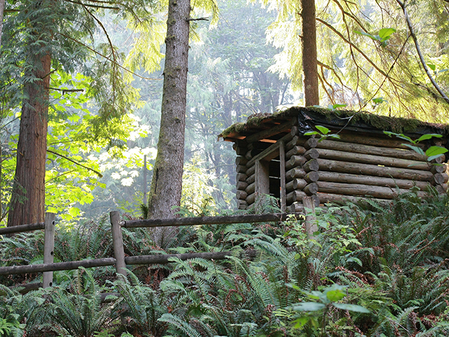 Log cabin at Snoqualmie falls theater